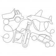 Truck Bulldozer Plane Pattern